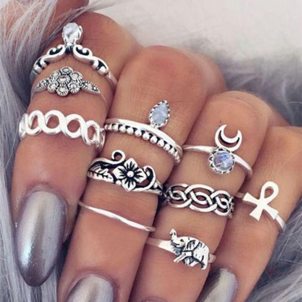 Combinazione esagerata per intagliare la combinazione di 10 pezzi, anello di fiori alla moda e versatile del mahua