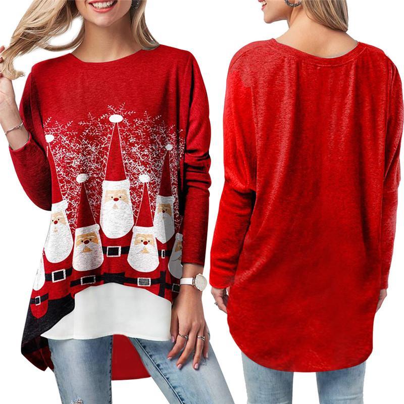 2020 женщин Рождество Tshirt Повседневный Сыпучие длинным рукавом Санта Клаус Printed Красный Топы Тис Блуза Tshirt Осень Зима женщин Xmas футболках