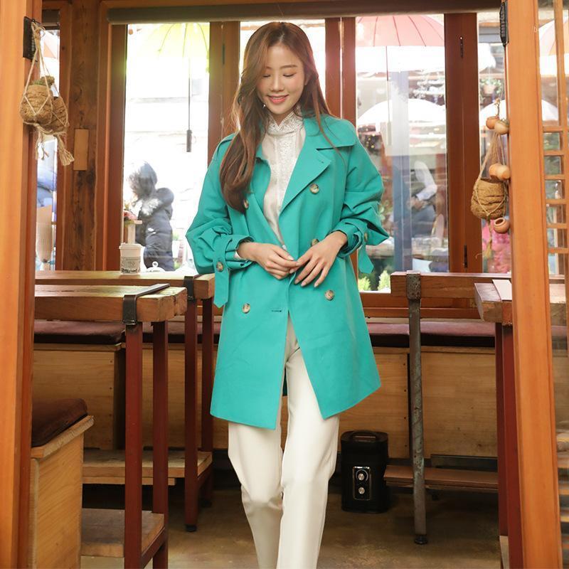 Kore Doğu Kapısı Chic Küçük Rüzgarlık kadın Yeni Moda Bahar 20201 Basit Çift Göğüslü Çok Yönlü Ceket