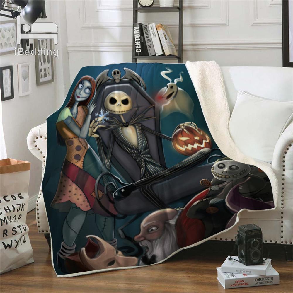 Перед рождественской кошмарой Premium бросает одеяло печать на требованиях Одеяла Sherpa для дивана Индивидуальные DIY плюшевые тонкие одеяло 0HW7