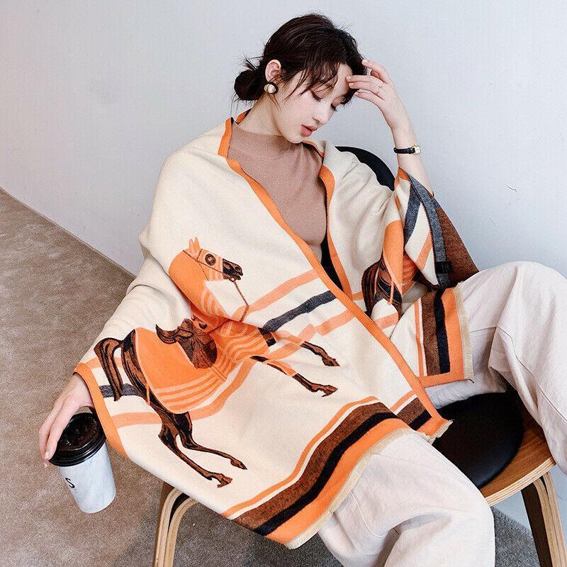 Шарфы роскошный имитация кашемировой шарфы женские мода лошадь печатает шаль украл зимний теплый керкий шарф для дам 190x60см