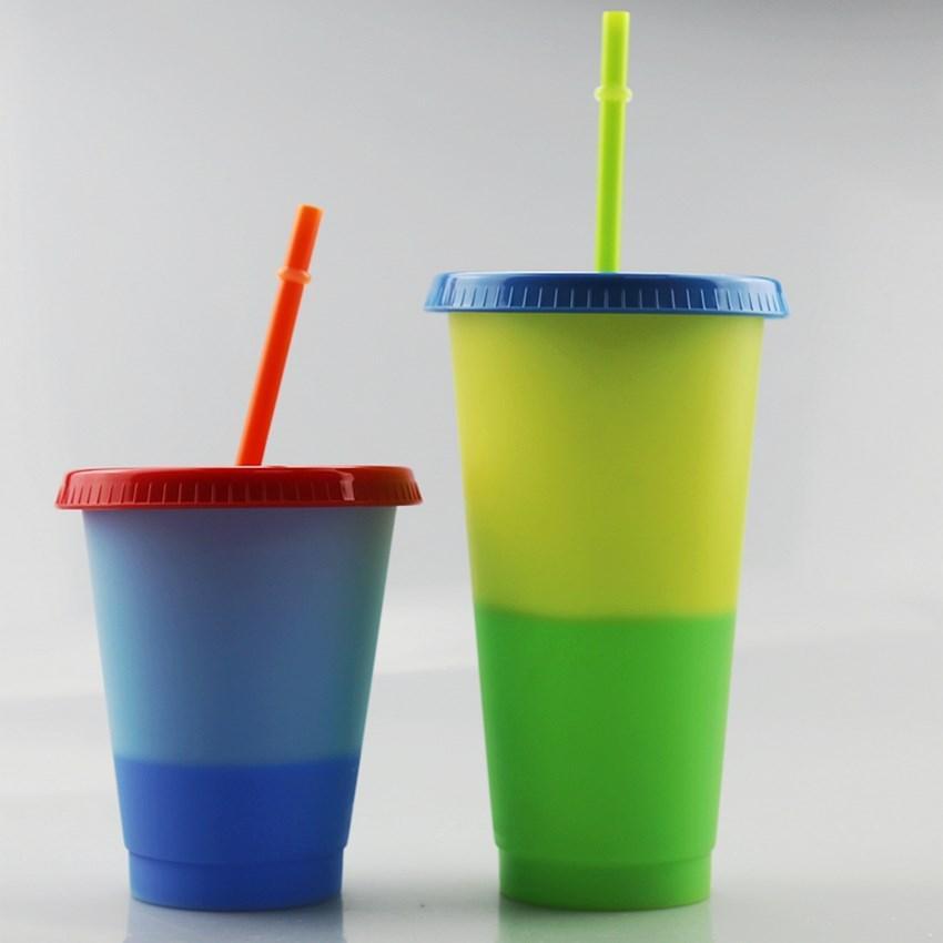 Farbwechsel Cup 16 Unzen Sippy Tasse Magie Kunststoff-Trink Tumbler mit Stroh 5 Farben pro Set Kaffeetasse Wasser-Flasche Schnell A02 Versand