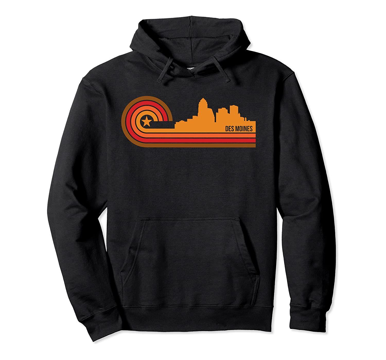 Retro Des Moines Cityscape - Des Moines IA Skyline Kazak Hoodie Unisex Renk Siyah / Gri / Lacivert / Kraliyet Mavi / Koyu Heather ile Boyut S-5XL