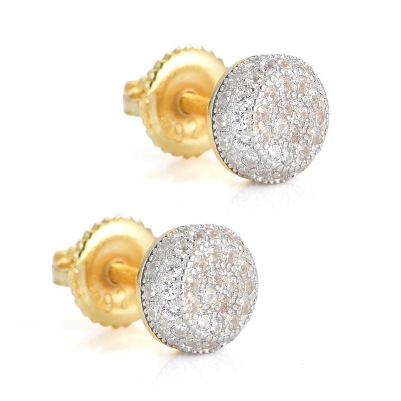 925 orecchini in argento sterling mens hip hop gioielli ghiacciati con diamanti orecchini per borchie orecchini stile orecchini moda oro argento accessori donna nuovo