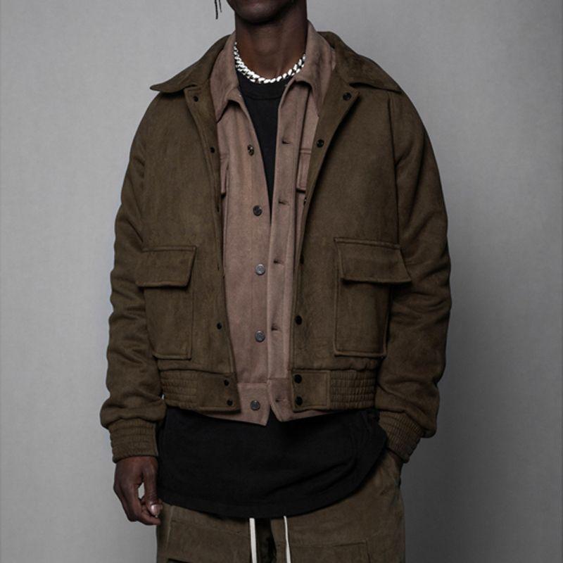 Arnodefrance High Street Tooling Jackets Coat Sweat Button Jacket Casual Skateboard Hip Hop Outwear Army Green Men Women Couple HFHLJ