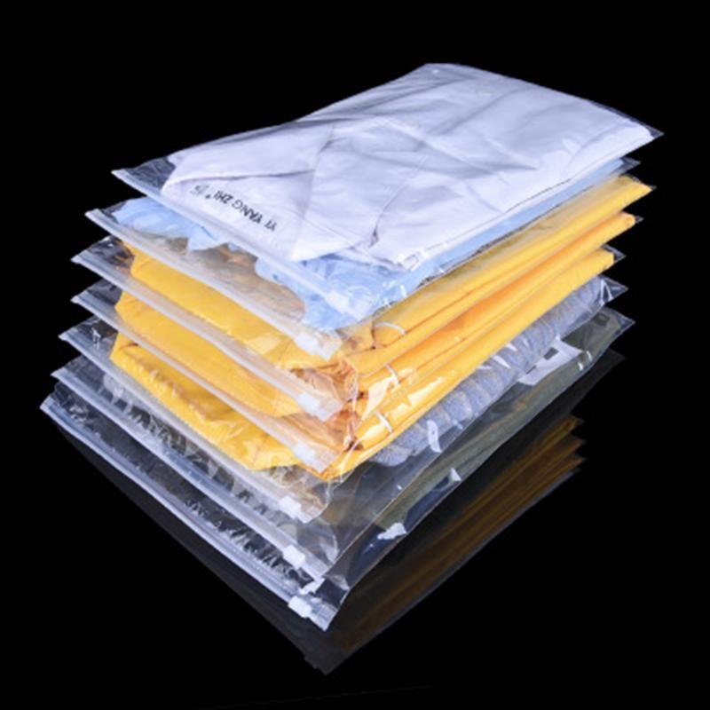 50Pcs en plastique transparent Voyage sac de rangement avec fermeture à glissière Diapo Vent vêtements Sous-vêtements T-shirt Emballage Paquet Pochette refermable