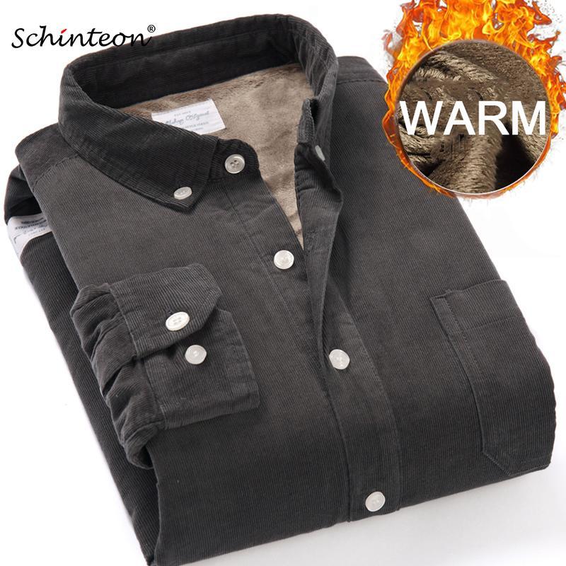 Верхнее качество Зима теплая основывая рубашки Мужчины вельвет рубашка Толстые ватки Подкладка Термическая рубашка S-4XL 201012