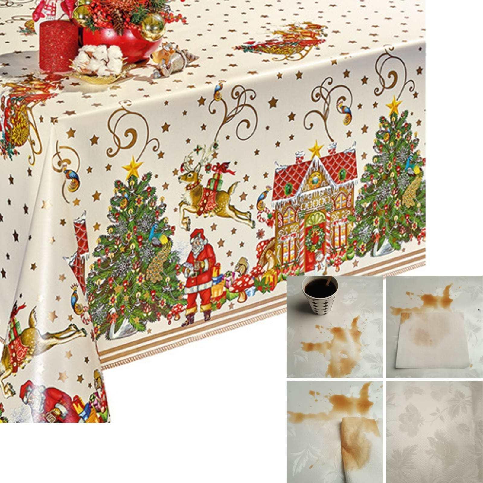 Decoser pesado deber de vinilo con mantel con franela forro impermeable de PVC 55x55 pulgada cuadrada de Navidad Cubierta de mesa GYHY