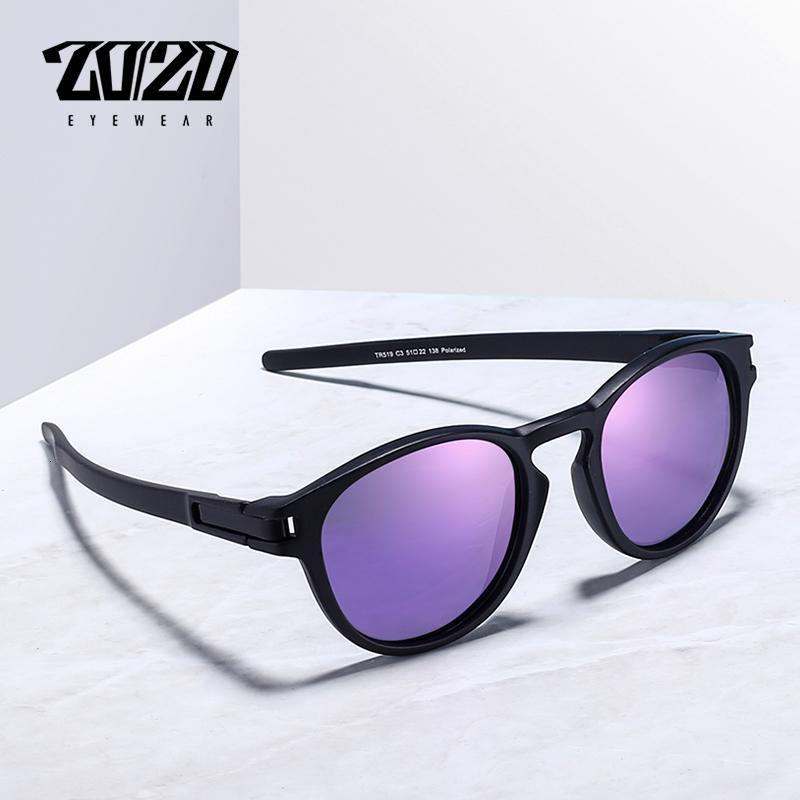 20/20 estrenar Gafas de sol Gafas de la vendimia de la lente púrpura unisex TR90 polarizada Accesorios Gafas de sol para mujeres 519