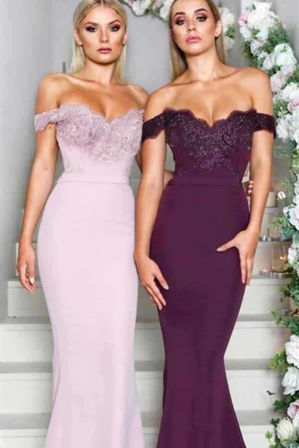 Gorgeous Off The Shoulder Bridesmaid Dresses Mermaid Long Prom Dress for Wedding Party Maid Of Honor Dresses