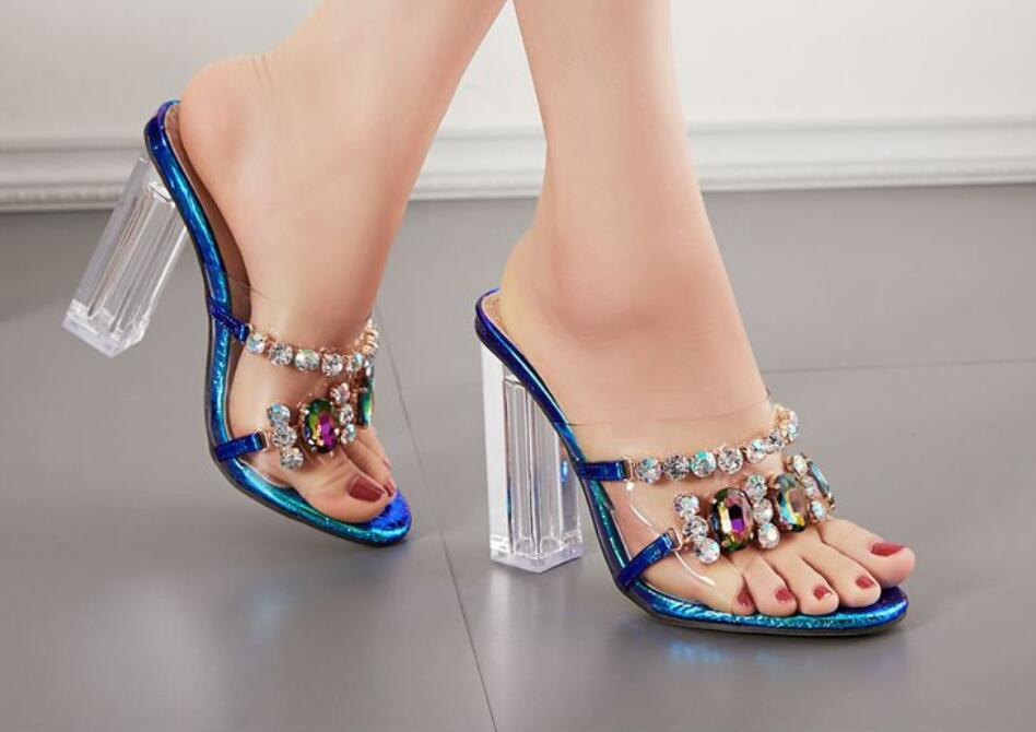 European and American sandal cross-border ladies slippers 35-42 size transparent rhinestone thick high-heel fashion shoes00007