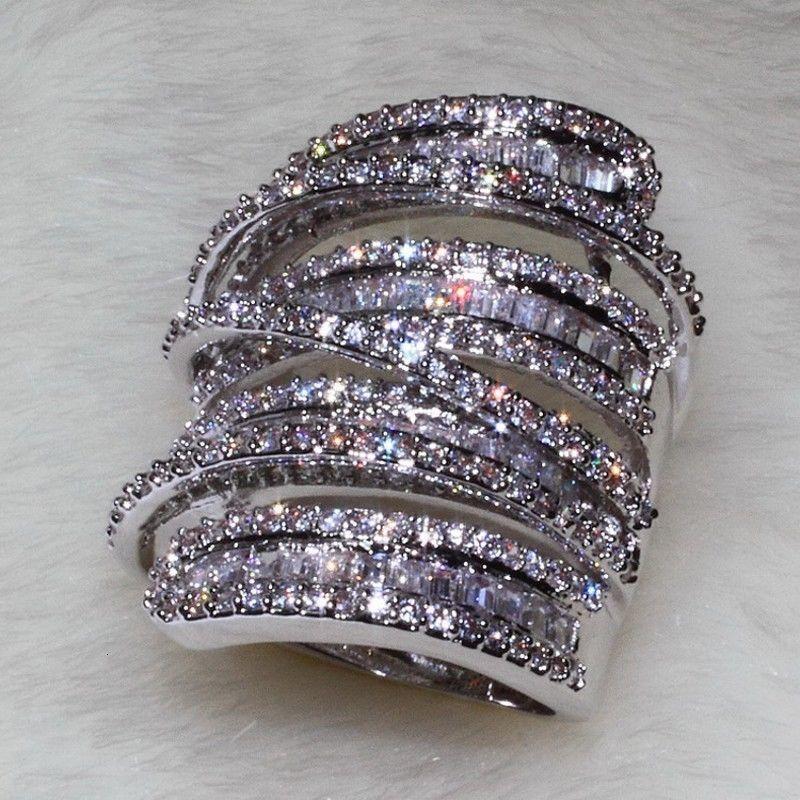 Full Princess Cut Luxury Jewelry 925 Sterling Siver 925 Sterling Silver White Sapphire Simulated Diamond Gemstones Wedding Women Ring Sz5-11