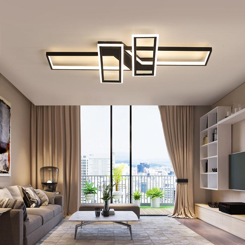 Novo LED luzes do candelabro para sala de estar de jantar quarto casa moderna Lustres do teto no Salão retângulo preto Lamp Lighting
