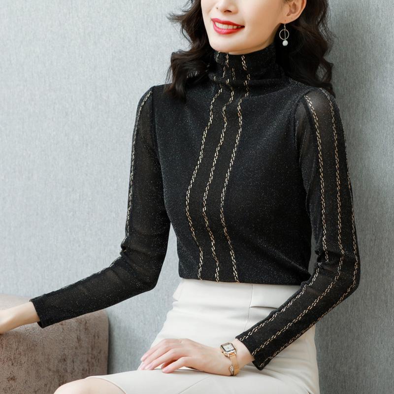Kadınlar İçin Chikichi Giyim Kadınlar Yeni Fleece Kalınlaşmış Turtleneck Siyah Paneli Çizgili Tezhip Uzun Kollu dibe Gömlek