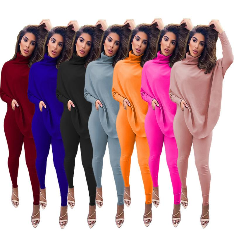 Women Two Piece Outfits Designer Fashion High Neck Sweater Pants Suits Casual Solid Color Bat Sleeve Split Top Trousers Laides Sportwear