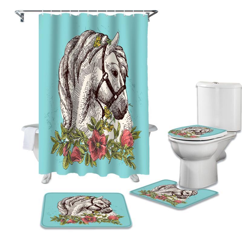 Animal dos desenhos animados Bohemian White Horse Shower Curtain Define antiderrapante Tapetes WC tampa de cobertura e tapete de banho Cortinas à prova d'água do banheiro