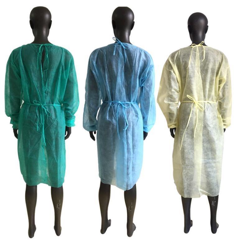 Non-tissé robe 3 couleurs unisexe jetable Imperméables protection Tablier de cuisine de protection anti-poussière Imperméables TRANSPORT MARITIME CCA12603