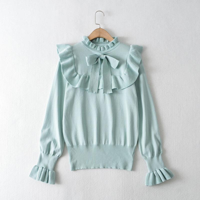 Tops Mulheres 2020 Pullovers Chic Fashion Elegante Ruffles Mint camisola de malha Jumper Feminino Vintage