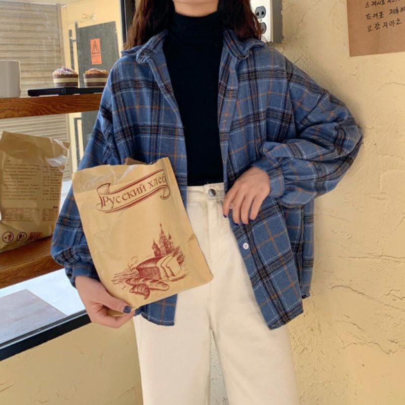 Mulheres Blusas Turn-Down Collar Primavera camisas xadrez Todos-jogo BF Batwing-manga solta Outwear Harajuku Feminino Quatro Cores Chic Novas