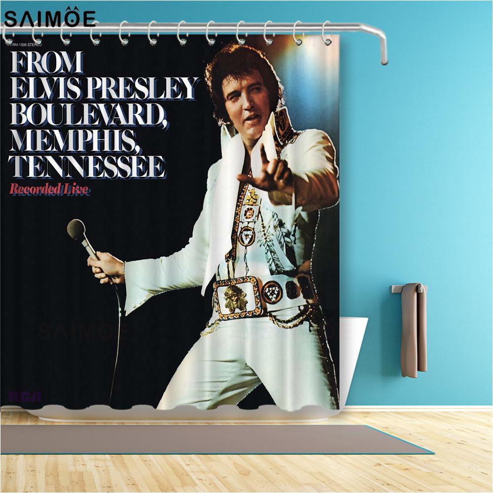 Популярные Presley Elvis Presley Super Душевые занавески из полиэстерной ткани Ванная комната Занавески для ванной комнаты Декор Певица Печать Ванна Занавес Душевые Наборы X1018