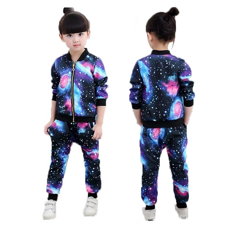 Mädchen Sets 2019 Kinder Mode Active Jacken Reißverschluss Mantel und Pant Set Kinder Kleidung Herbst Sportanzug Trainingsanzug Y200623