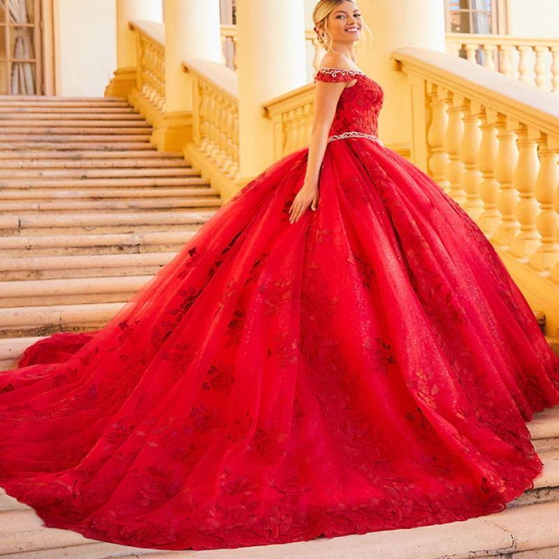 Vestidos de quinceañera de lujo rojo con encaje apliques de cristal bola vestido vestido de fiesta Vestido de Fiesta Personalizar del dulce 16 de desgaste
