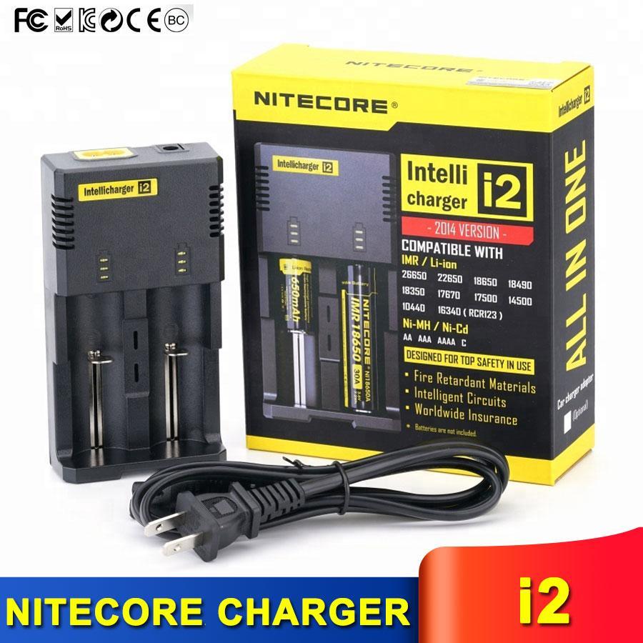 원래 지능형 충전기 Nitecore I2 16340 18650 14500 26650 배터리 2 1 개 Muliti 기능에 Intellicharger와 소매 패키지에 대한