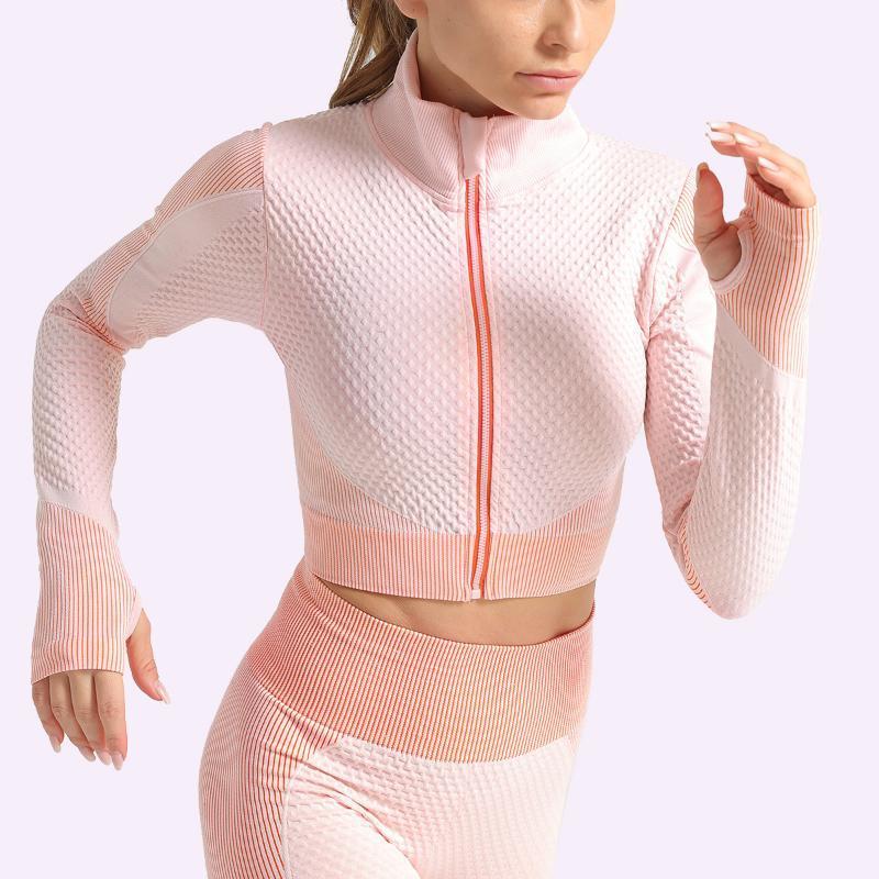 الرياضة الأعلى للمرأة زيبر كم طويل قمصان اليوغا الخصر تشكيل تجريب الجمنازيوم سترات تشغيل تتسابق التدريب دفع ما يصل للياقة البدنية معطف