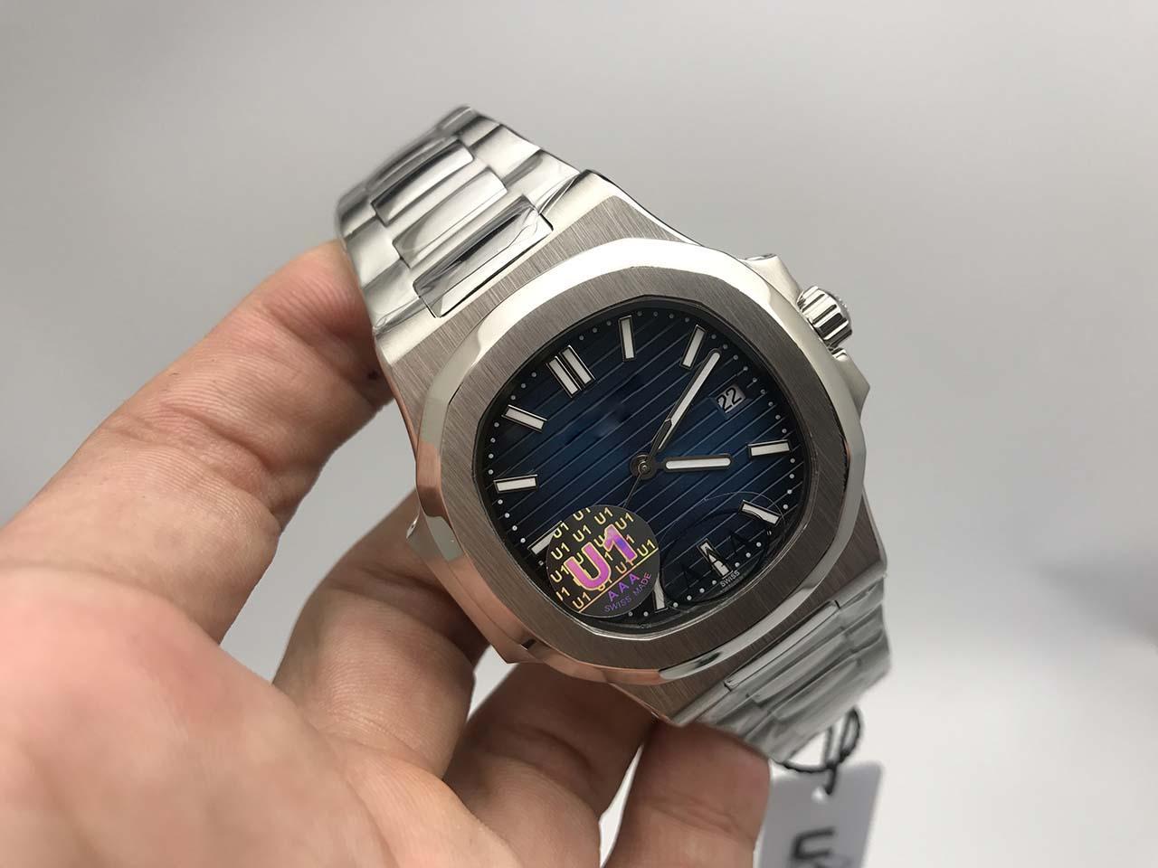 En Kaliteli Mavi Arama Asya Hareketi Safir Saatı 40mm Oyma Mekanik Şeffaf Otomatik Erkek İzle Saatler