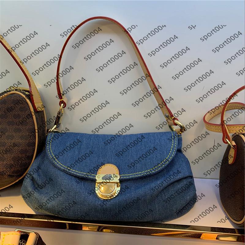 2021 Stil Sınırlı Vintage Denim Pleaty Tek Kadın Çanta Kot Mavi Omuz Çantaları Jean Kumaş Çapraz Vücut Çanta Bayan Messenger Puress M95050