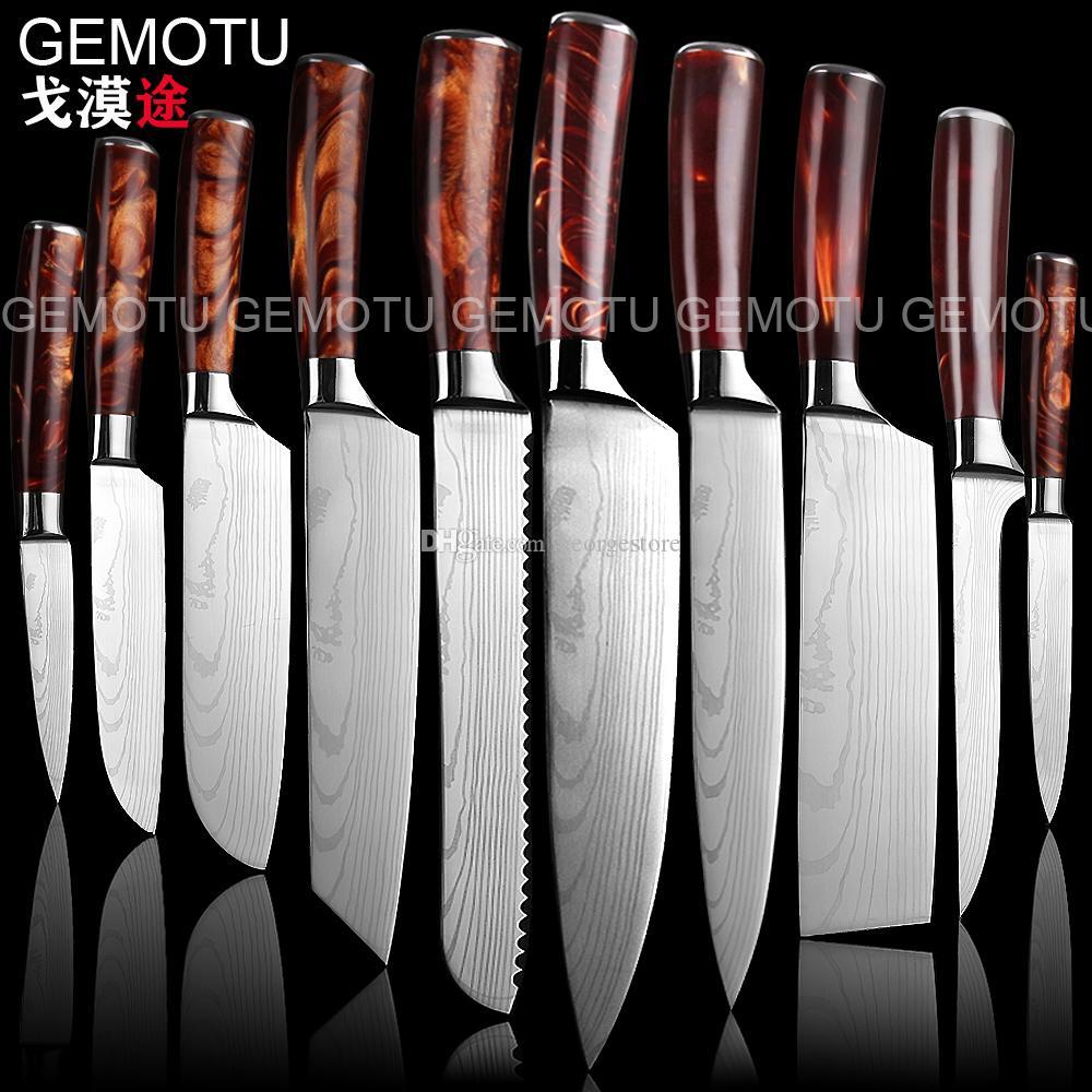 10pieces mis 7CR17mov lame Couteaux de cuisine japonaise Laser Damas Motif chef couteau pointu Santoku Couperet Slicing Couteaux outil EDC
