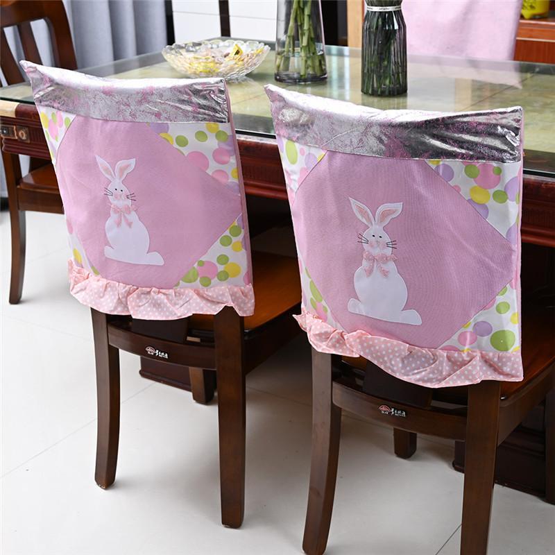 Пасхальные кресла чехлы 48 * 48 см ткань кролика розовый синий кухонный стул крышка счастливая пасхальная вечеринка домашнее украшение стула DA3556