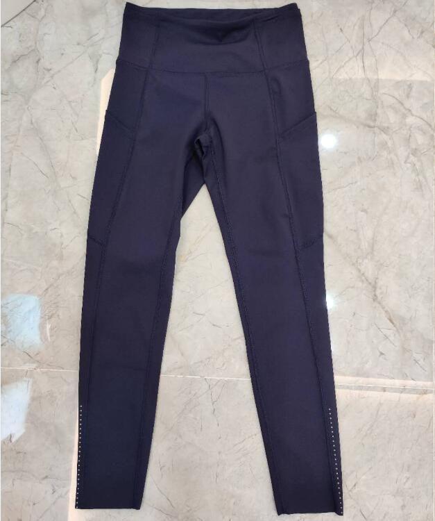 Pocket, High Waist Yoga Pants Sexy Lady Raising Hips, Tight Running Fitness Double Side Brocade Pants High Elasticity