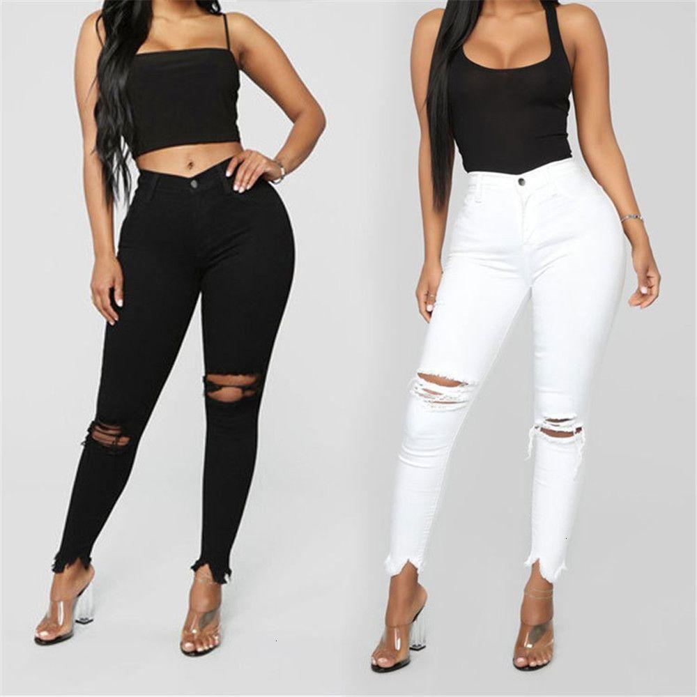 Черно-белые рваные для женщин Тонкий джинсы Повседневный Тощий карандаш брюки моды Женская одежда Плюс Размер S-3XL
