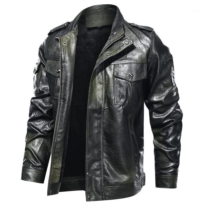 Veste en cuir de moto d'automne Hommes Collier de teneur solide Couleur à manches longues à manches longues Hommes Cuir Veste Zipper Casual Men1
