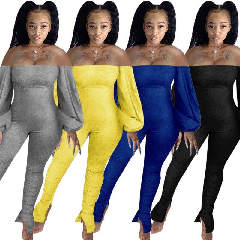 Casual Donne Solid Color Skinny Black Kidsuits Fashion Lady Slash Neck Lantern Sleeve Backless drappeggiato Pagliaccetti impilati 2020 Autunno