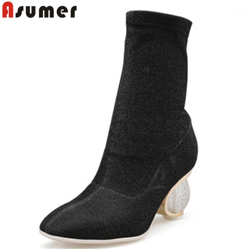 Stivali Asumer 2021 Moda Autunno Scarpe Donna Square Tone Toe Elastico Elegante PROM Tacchi alti Cascina per le donne Big Size 35-431