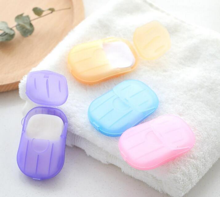 20pcs / set / set Monouso Boxed Sapone Carta Portatile Aromaterapia Lavaggio a mano Viaggio da bagno Mini SOAD Box Base Soap Base Accessori da bagno Epacket gratis