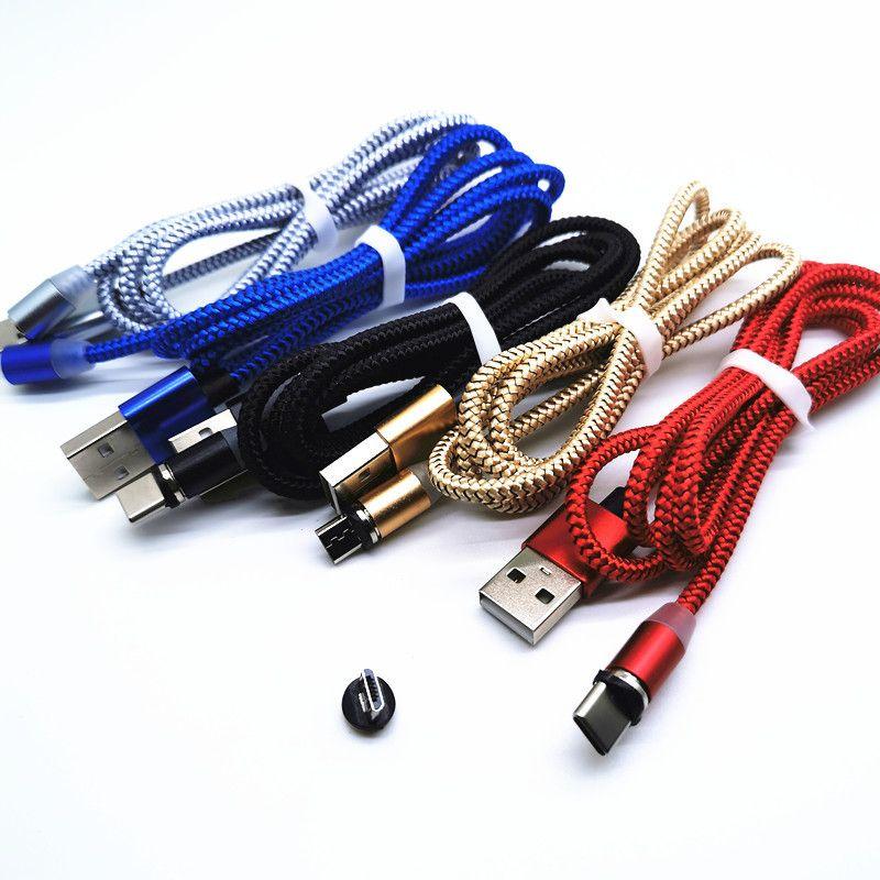 마그네틱 핸드폰 충전 케이블 3FT 6FT 나일론 꼰 코드 Mirco USB, 유형 C 및 IP 장치와 호환