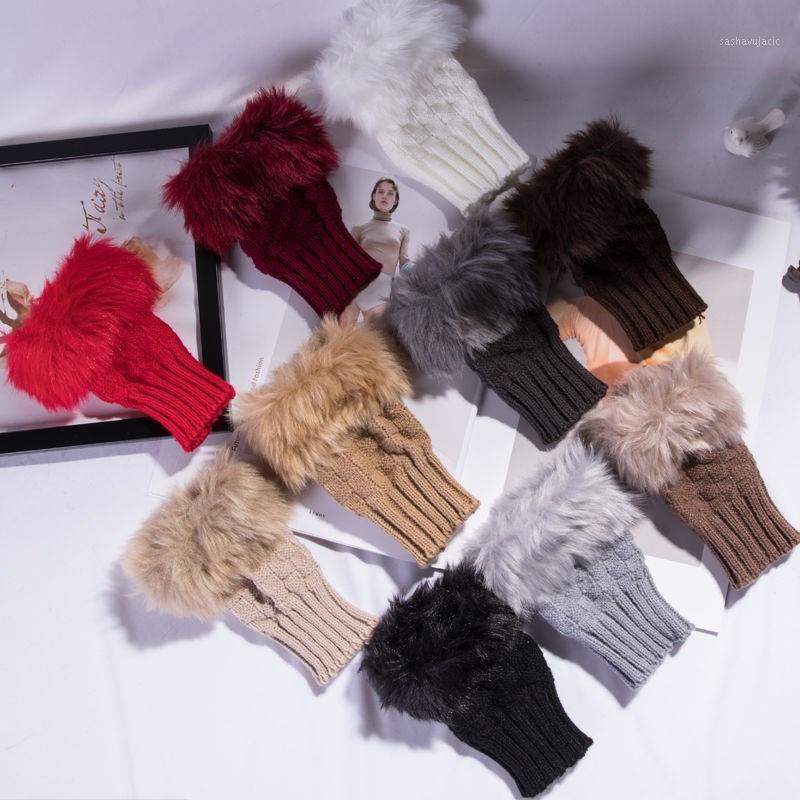 Женщины запястья руку теплые зимние трикотажные перчатки варежки девушка женская искусственная шерсть варежки из искусственного меха без пальцев теплые перчатки G11