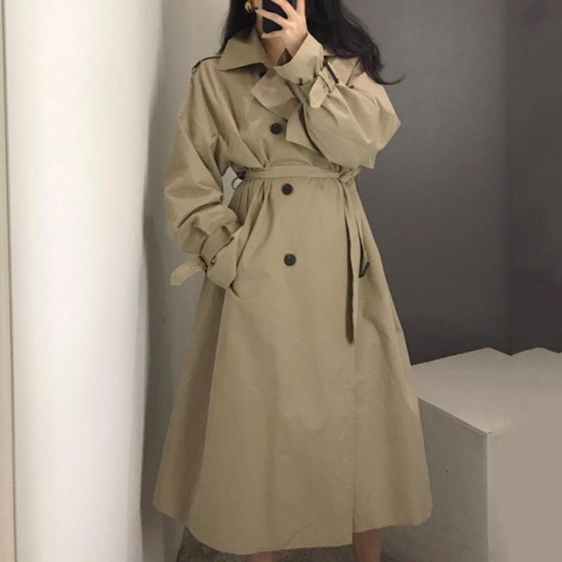 Женщины женские пальто весна осень мода повседневная пальто длинная верхняя одежда свободная одежда для леди с поясом