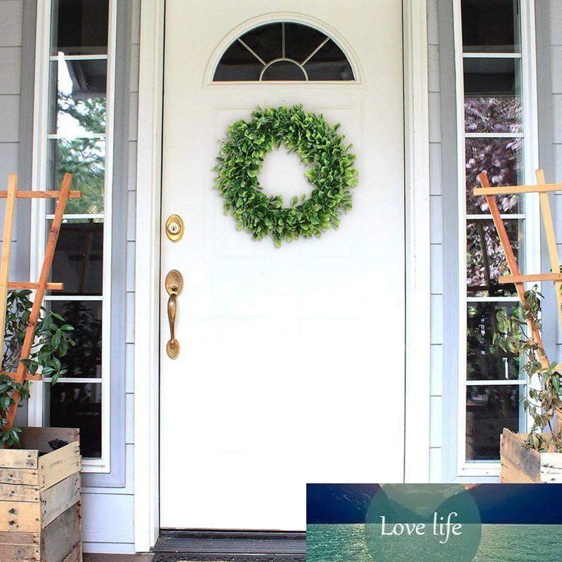 Künstliche grüne Blätter Kranz - 15 Zoll Boxwood Kranz im Freien Grün für Haustür Wand Fenster Party Decor
