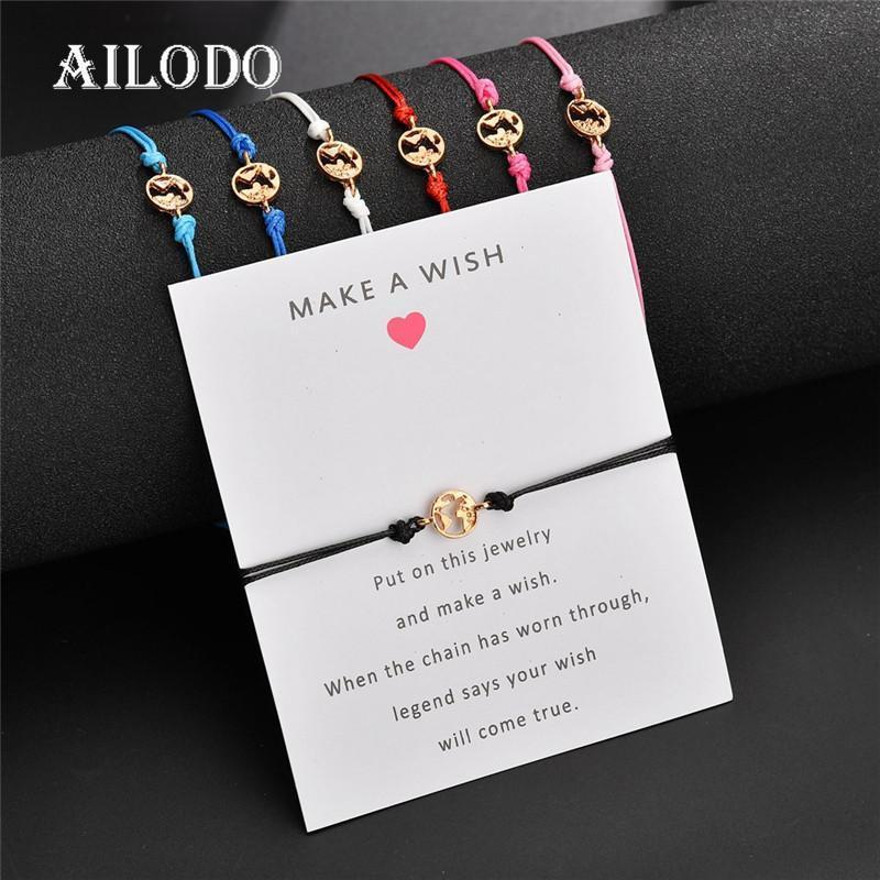 Ailodo Faites un souhait Hommes Femmes Bracelets Mode main corde chaîne Bracelets Trendy été Bijoux cadeau d'anniversaire LD260