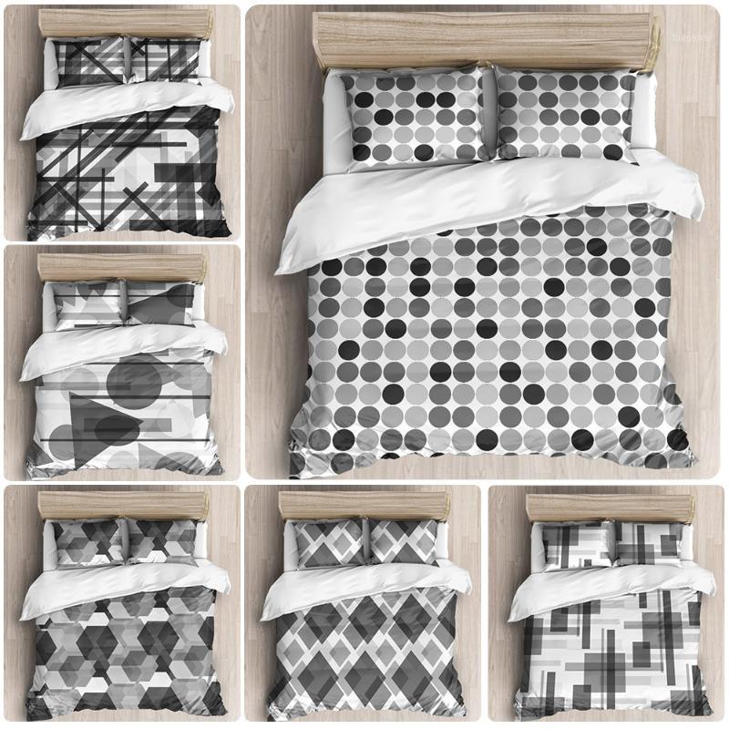 Color geométrico en blanco y negro Bloque de color Muela de lecho mao Conjunto de almohada Funda de almohada Cubierta de edredón Doble Habitación doble Tamaño completo1