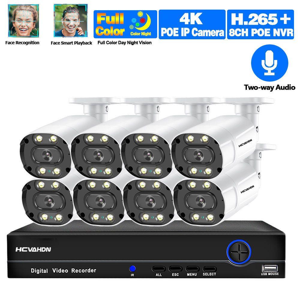 4 K 8MP POE Kamera Güvenlik Sistemi NVR Kiti 8CH 5MP Video Gözetim Sistemi Açık Ses Renk Gece Görüş IP CCTV Kamera Seti LJ201209
