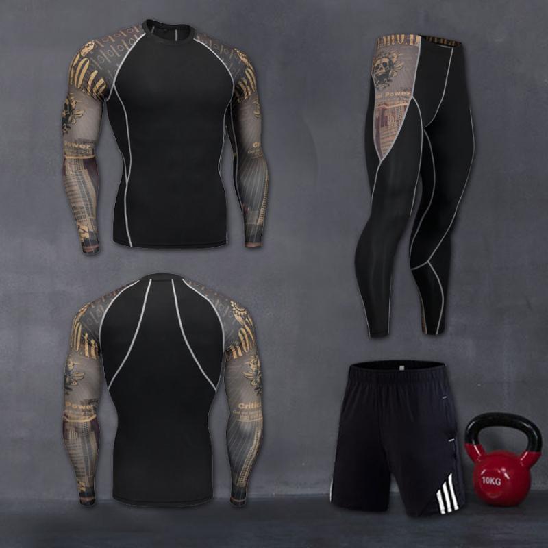 Conjuntos de ejecución Hombres Sportswear Compresión Sport Sport Trajes de secado rápido Ropa deportiva Capacitación Entrenamiento Gimnasio Fitness Trits Set
