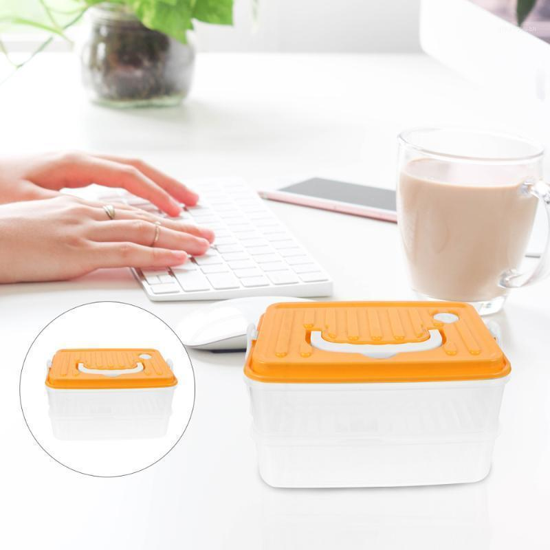 1pc Potable Sealing Durable Square Carrier Storage Container Multi-layer Box Bento Box for Refrigerator1