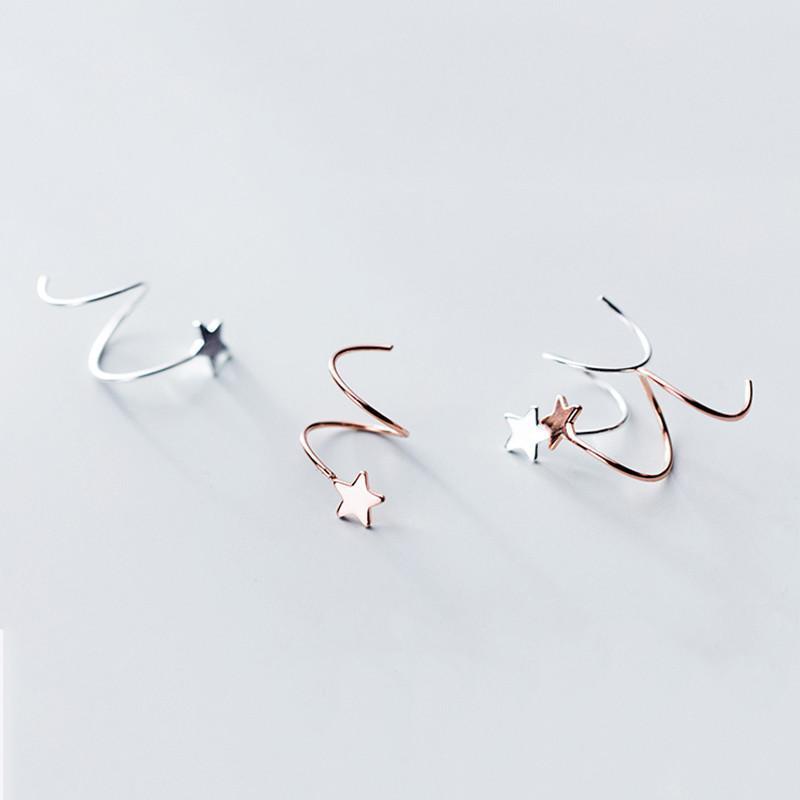 Kadınlar Partisi Yeni kız arkadaşı Hediye için gerçek 925 Gümüş Helix Küpe Hoop ile Yıldız Minimalist Moda Güzel Takı 2020