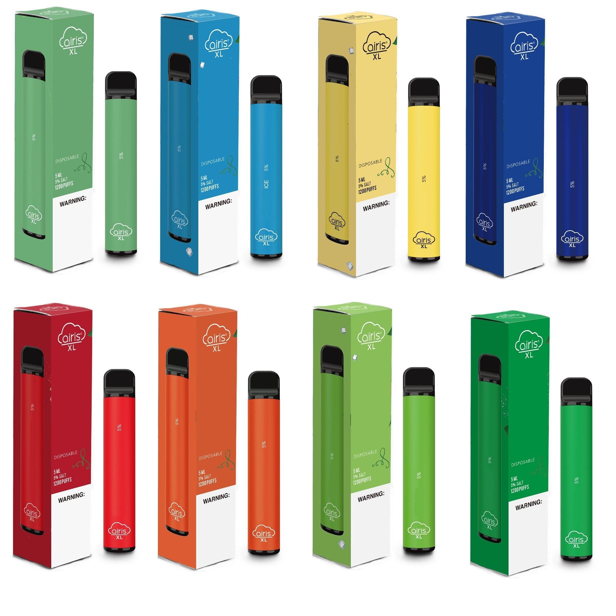 Orijinal Airis XL Tek Pod Cihaz Seti 1200 Puff 850mAh 5ml Prefilled Taşınabilir Vape Çubuk Kalem Bar Artı XXL Max% 100 Otantik 12 Renkler
