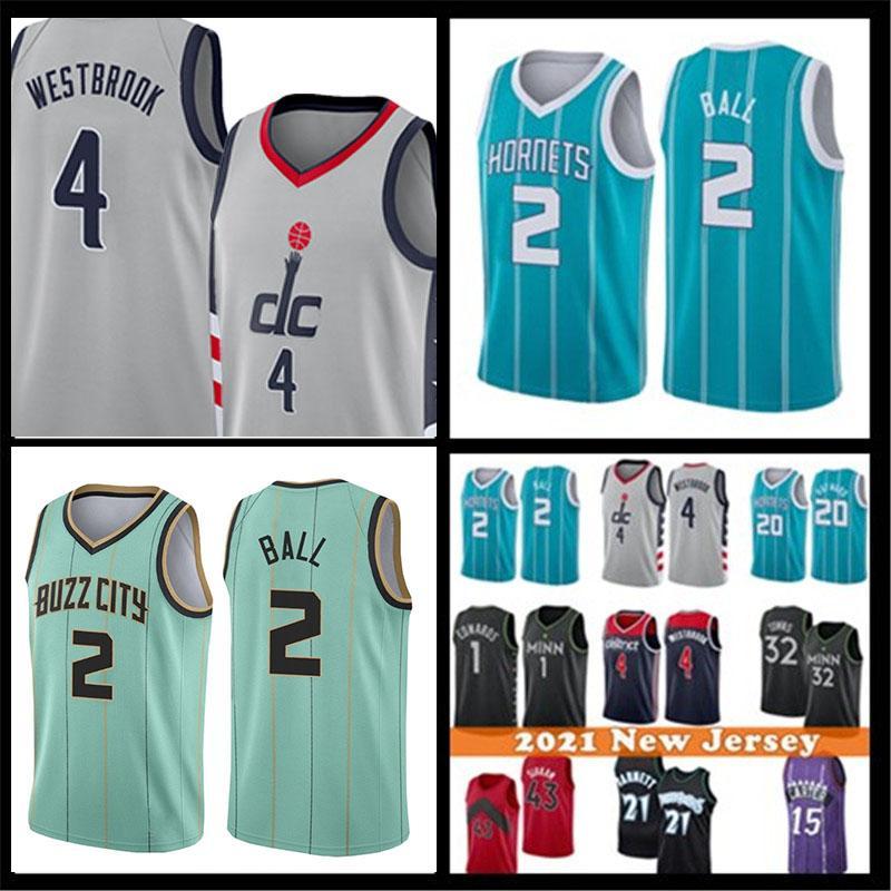 Mens 4 Russell Lamelo 2 Ball Westbrook Basketbol Jersey Gordon 20 Hayward Kevin 21 Garnett Anthony 1 Edwards Karl-Anthony 32 Kasaba